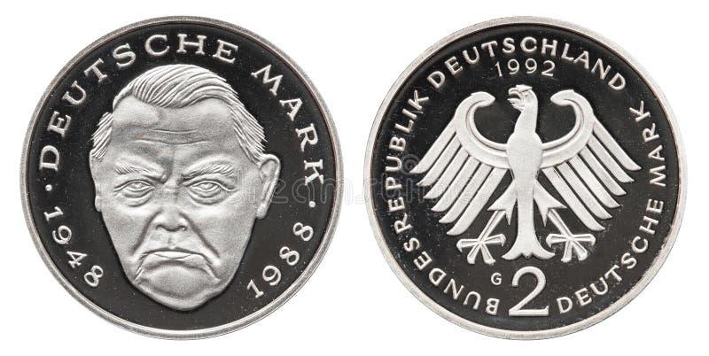 Moneda 1992 de la marca de República Federal de Alemania 2 imagenes de archivo