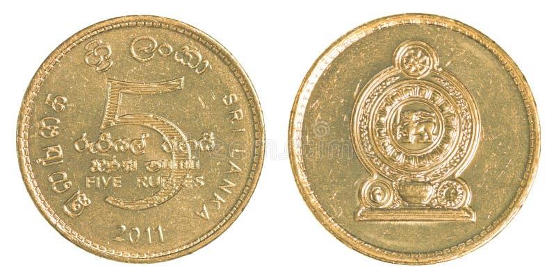Moneda de la rupia de 5 Sri Lankan fotografía de archivo libre de regalías
