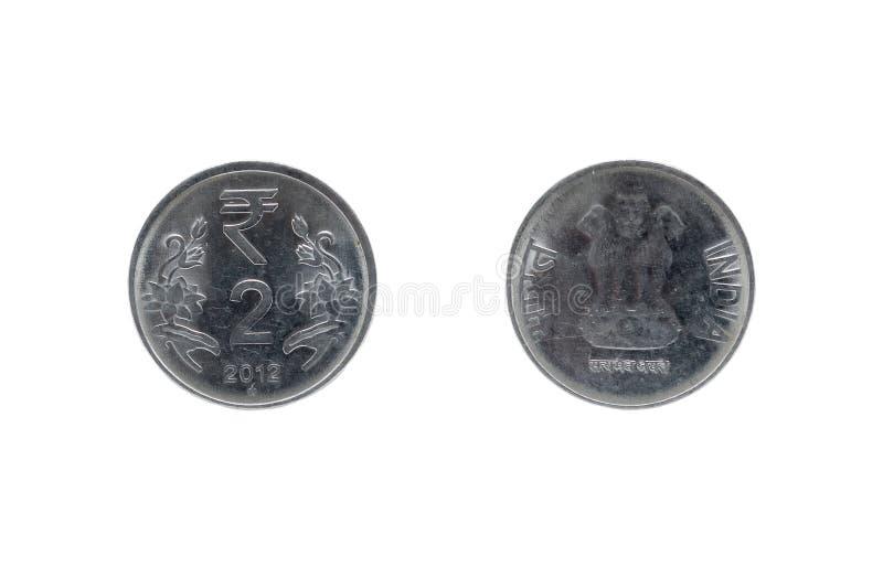 Moneda de la rupia india dos fotografía de archivo libre de regalías