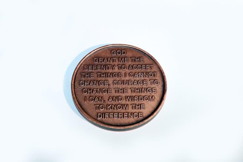 Moneda de la serenidad foto de archivo