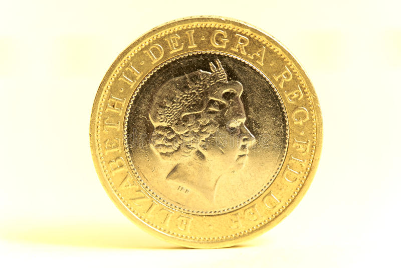 Moneda de libra británica del dinero en circulación dos imágenes de archivo libres de regalías