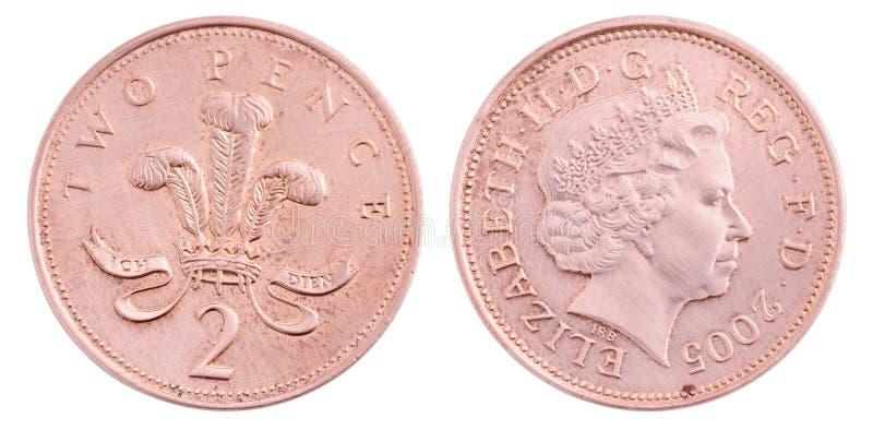 Moneda de los peniques de Británicos dos imágenes de archivo libres de regalías