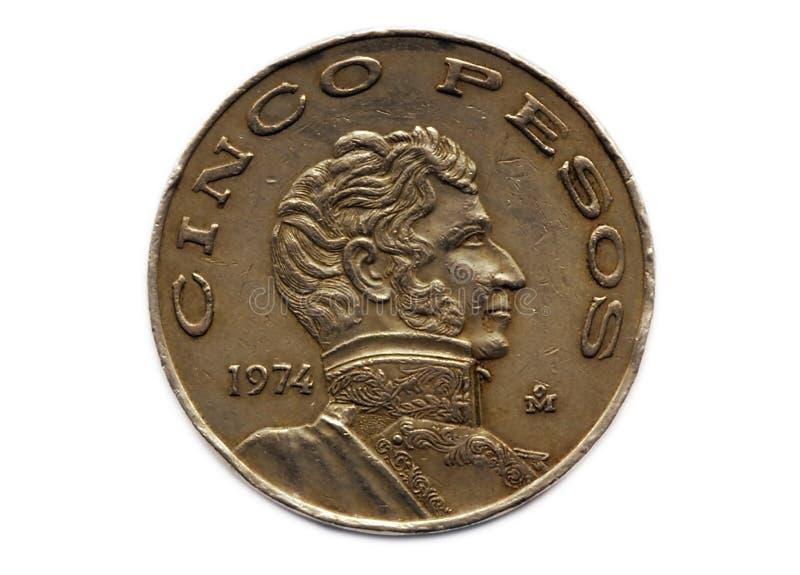 Moneda de los Pesos de Cinco foto de archivo