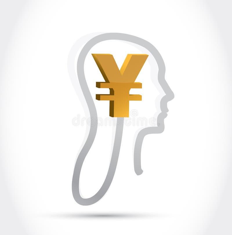 Moneda de los yenes en mi diseño del ejemplo de la mente stock de ilustración
