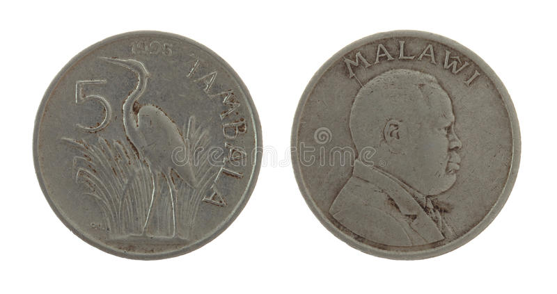 Moneda de Malaui aislada en blanco imagenes de archivo