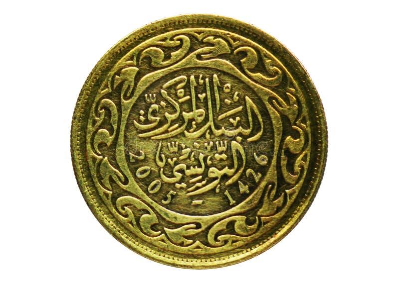 Moneda de 100 Milim, banco de Túnez Revés, problema 1960 imagen de archivo