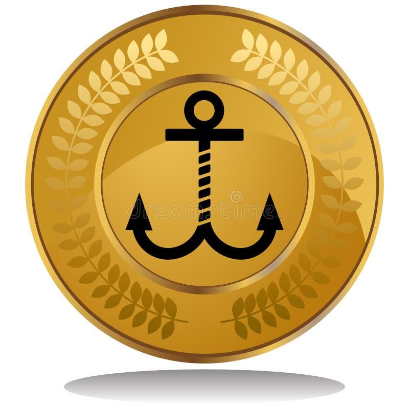 Moneda de oro - ancla stock de ilustración