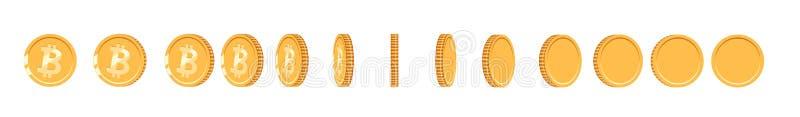 Moneda de oro de Bitcoin a diversos ángulos para la animación Sistema de Bitcoin del vector Ejemplo del bitcoin de la moneda del  stock de ilustración