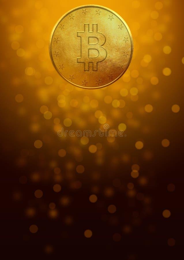 Moneda de oro de Bitcoin en fondo oscuro foto de archivo