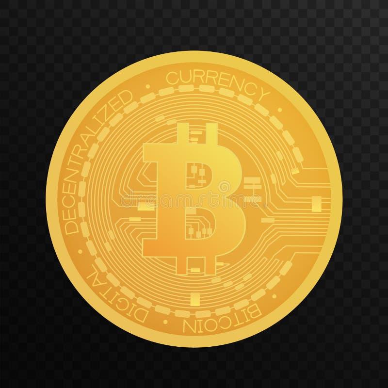 Moneda de oro de Bitcoin Símbolo Crypto del bitcoin de la moneda del blockchain aislado en vector transparente alfa del fondo ilustración del vector