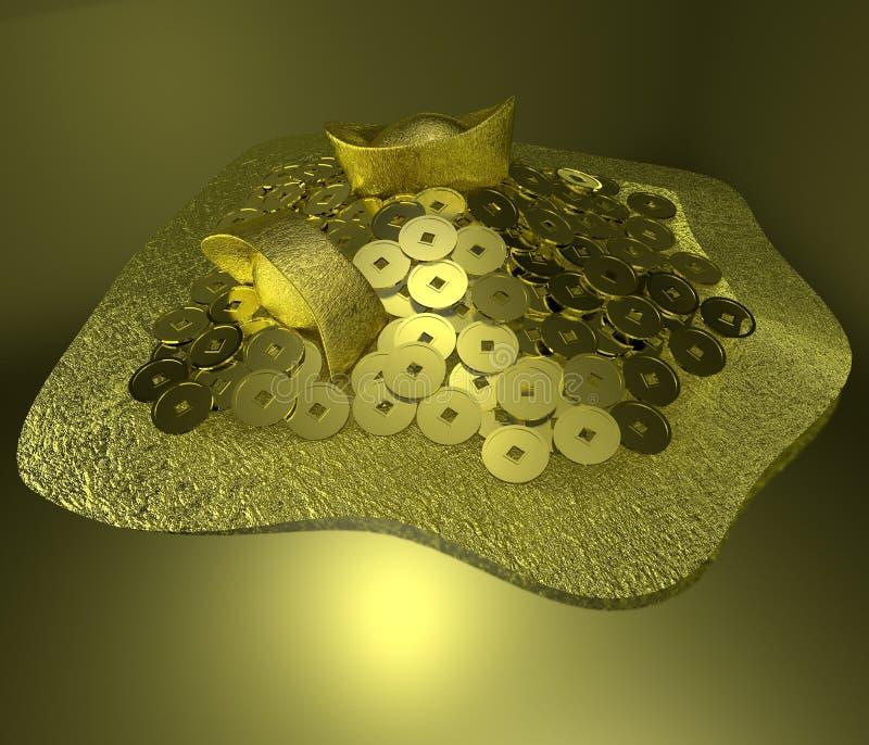 Moneda de oro china imagenes de archivo