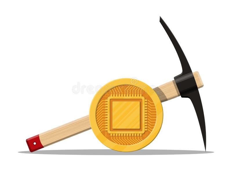 Moneda de oro con el chip de ordenador ilustración del vector