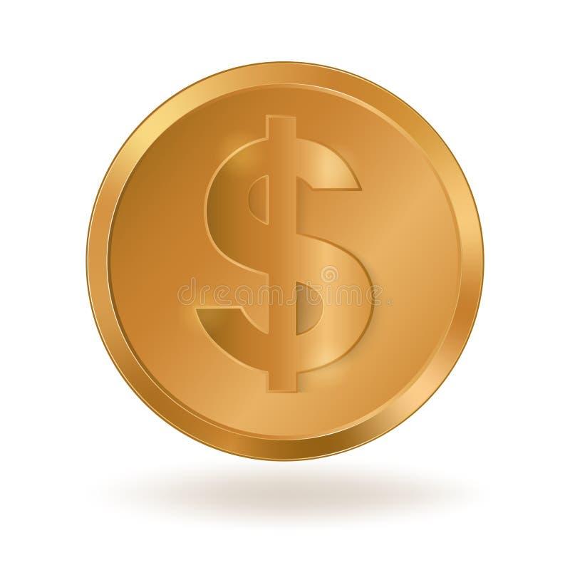 Moneda de oro con el dólar de la muestra ilustración del vector