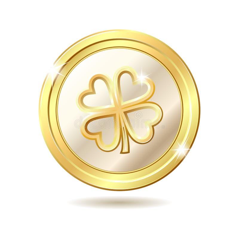 Moneda de oro con el trébol stock de ilustración