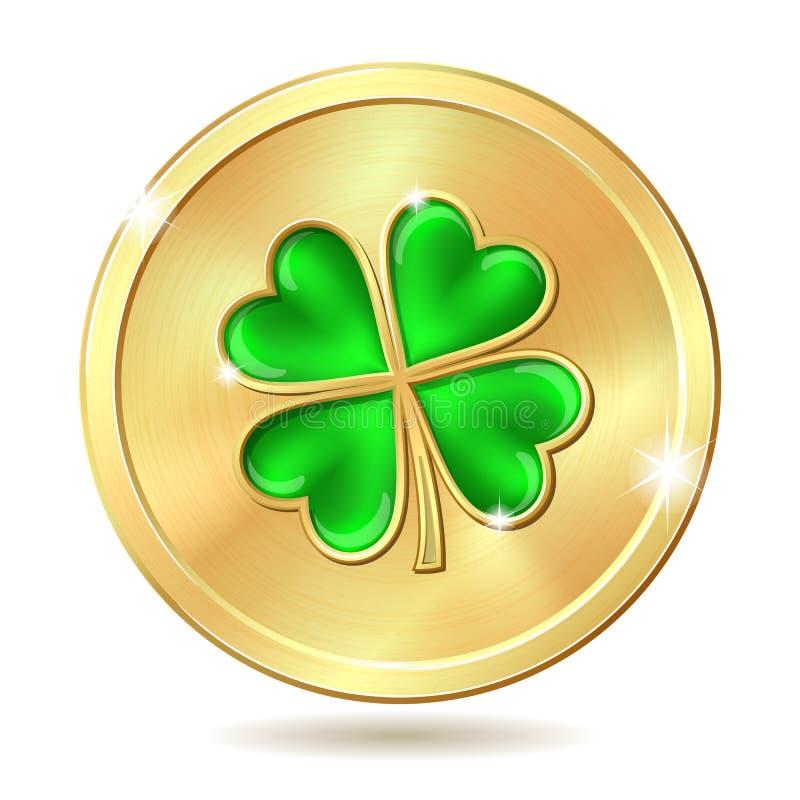Moneda de oro con el trébol ilustración del vector