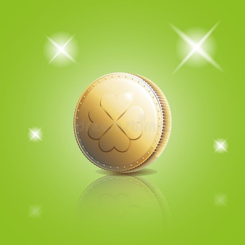 Moneda de oro con el trébol de cuatro hojas stock de ilustración