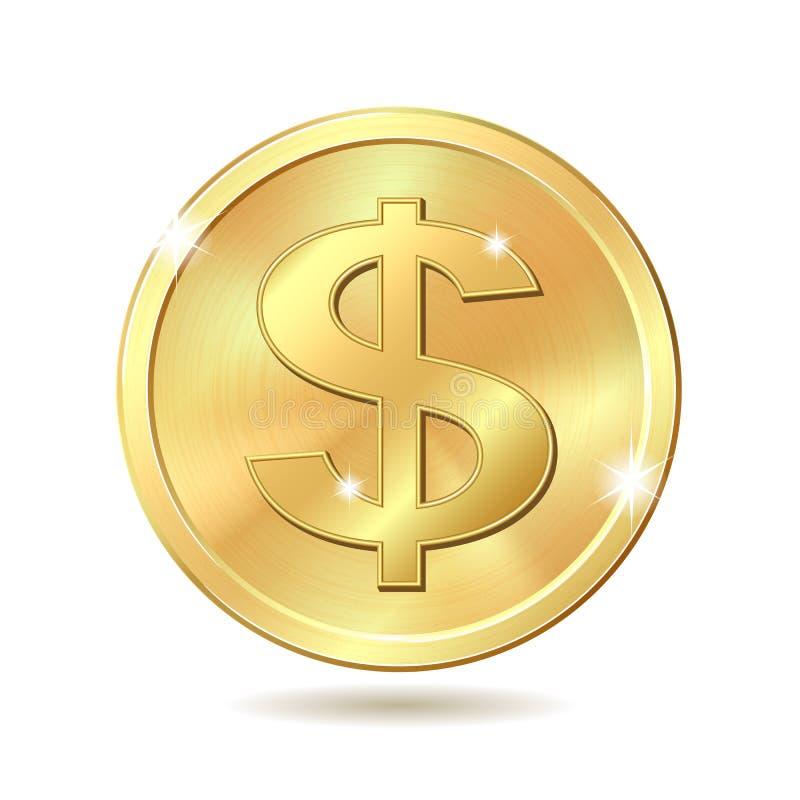 Moneda de oro con la muestra de dólar stock de ilustración