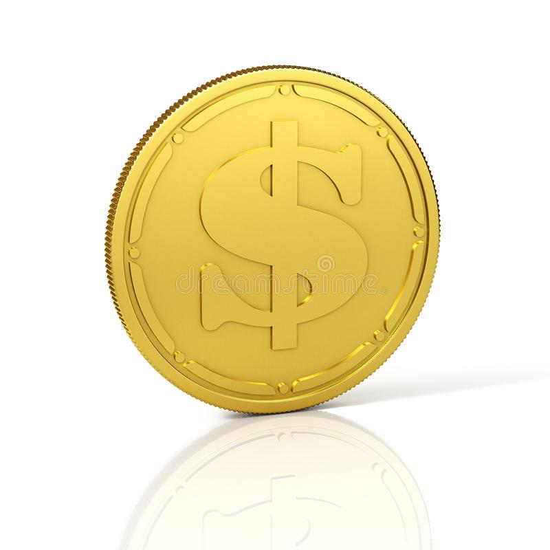 Moneda de oro con la muestra de dólar ilustración del vector