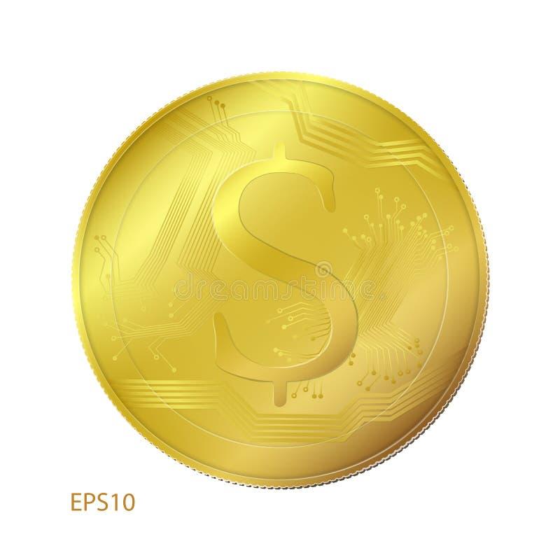Moneda de oro con la muestra de dólar aislada en blanco ilustración del vector