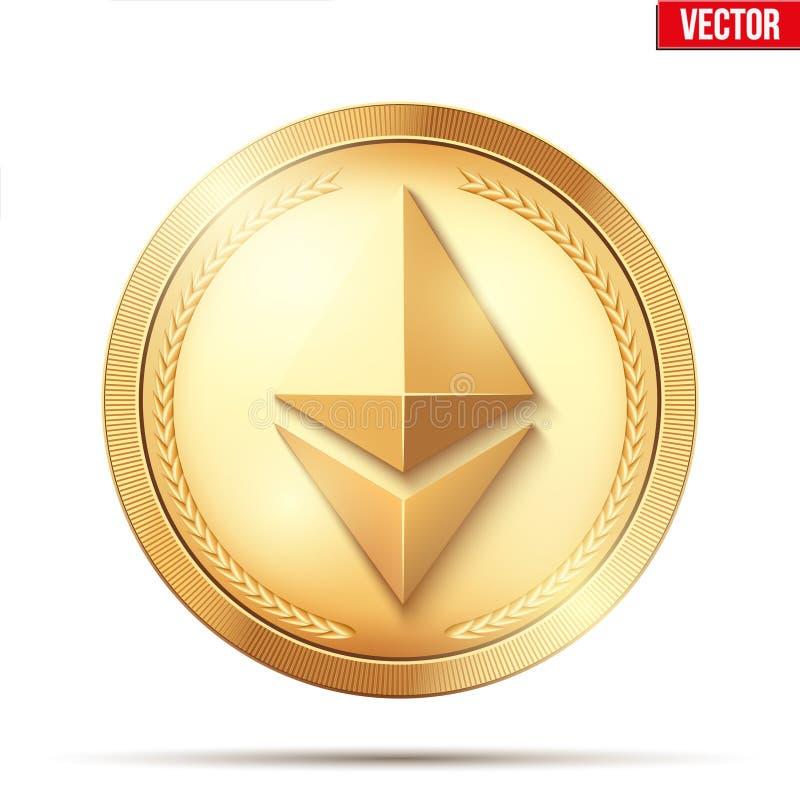 Moneda de oro con la muestra de Ethereum ilustración del vector