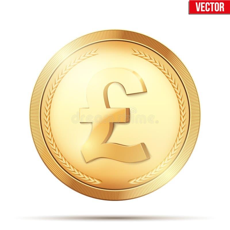 Moneda de oro con la muestra de la libra libre illustration