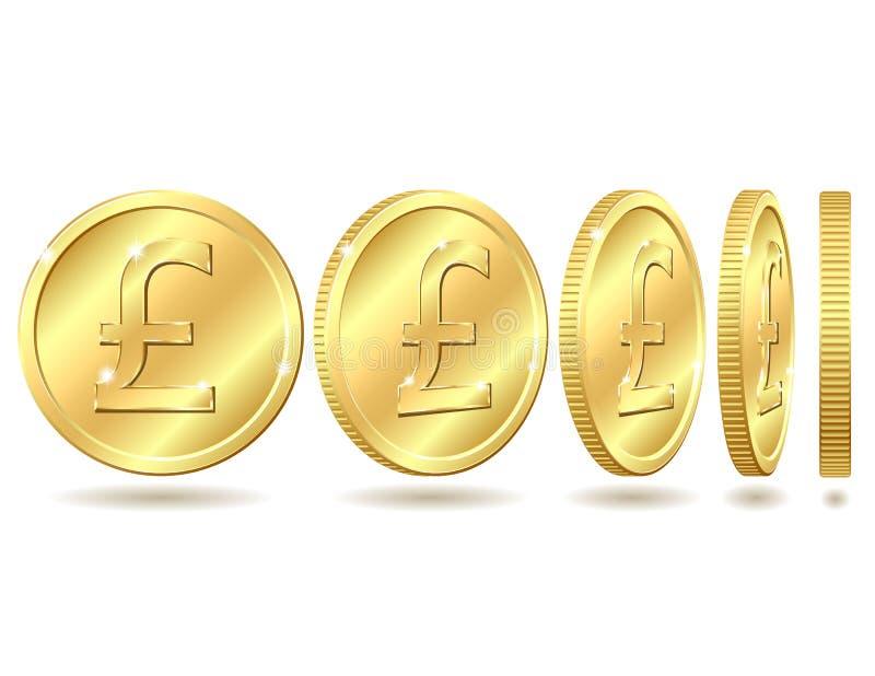 Moneda de oro con la muestra de la libra esterlina libre illustration