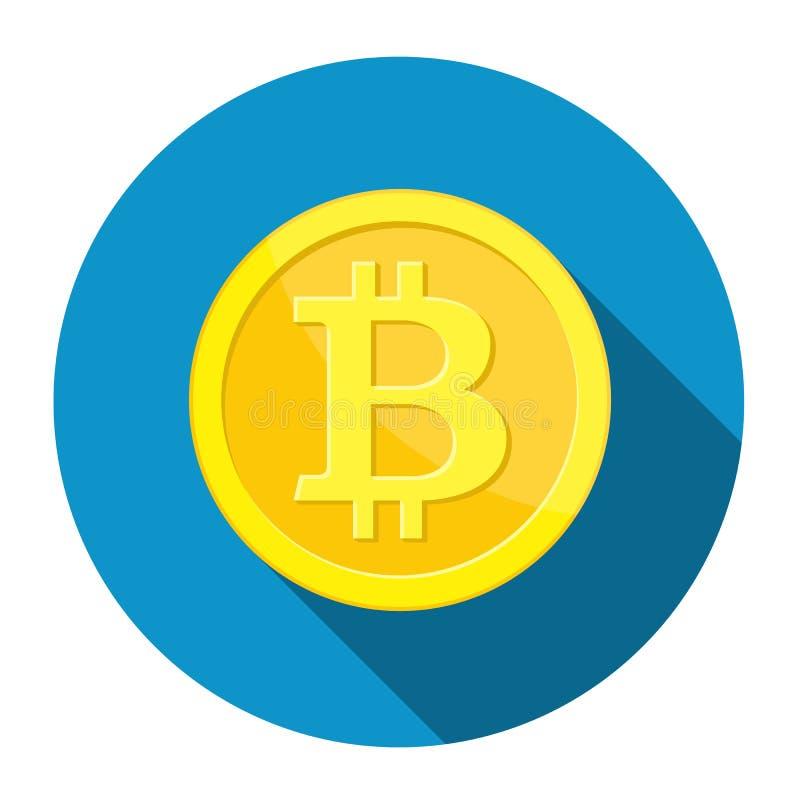Moneda de oro con la muestra del bitcoin ilustración del vector