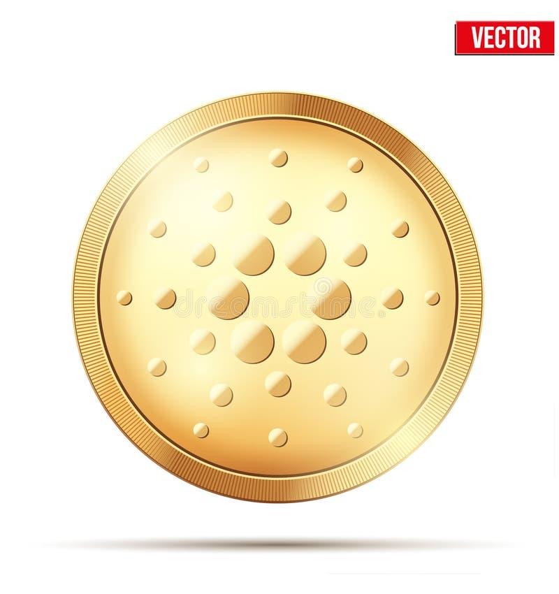 Moneda de oro con la muestra del cryptocurrency de Cardano ilustración del vector