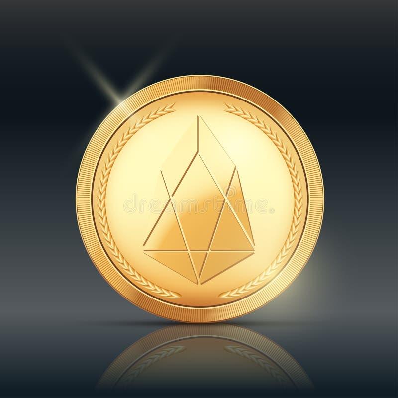 Moneda de oro con la muestra del cryptocurrency del FOE ilustración del vector