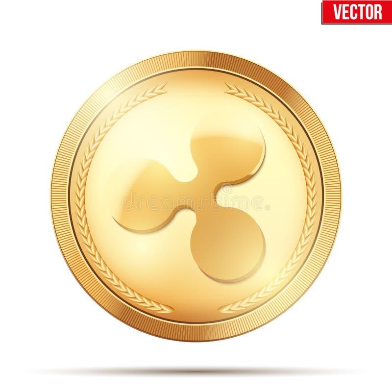 Moneda de oro con la muestra del cryptocurrency de la ondulación stock de ilustración