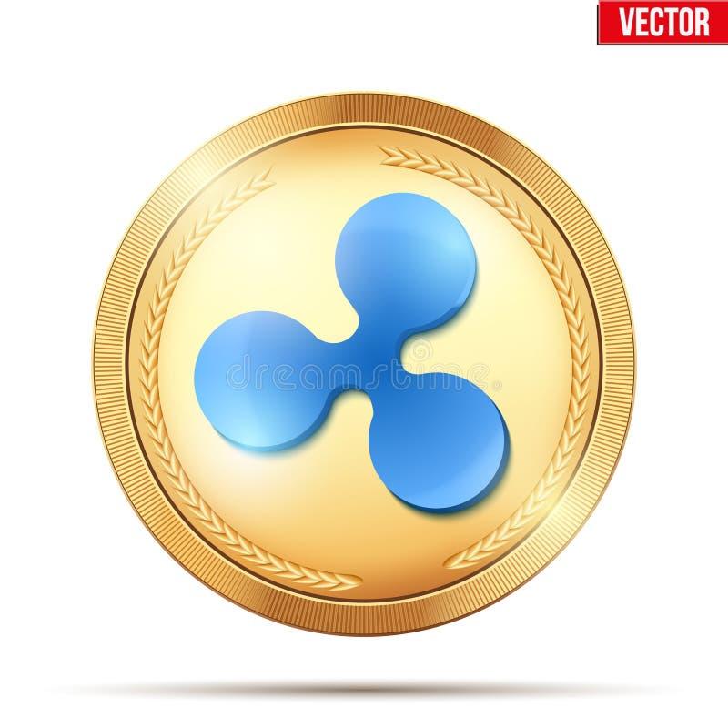 Moneda de oro con la muestra del cryptocurrency de la ondulación ilustración del vector