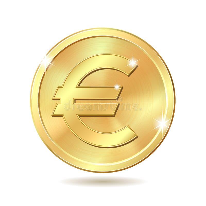 Moneda de oro con la muestra euro libre illustration