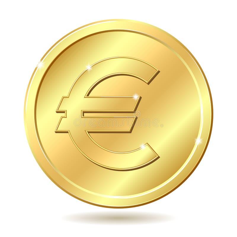 Moneda de oro con la muestra euro stock de ilustración