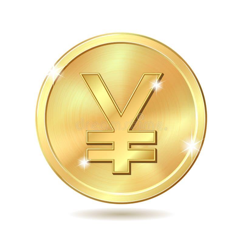 Moneda de oro con la muestra de Yenes stock de ilustración