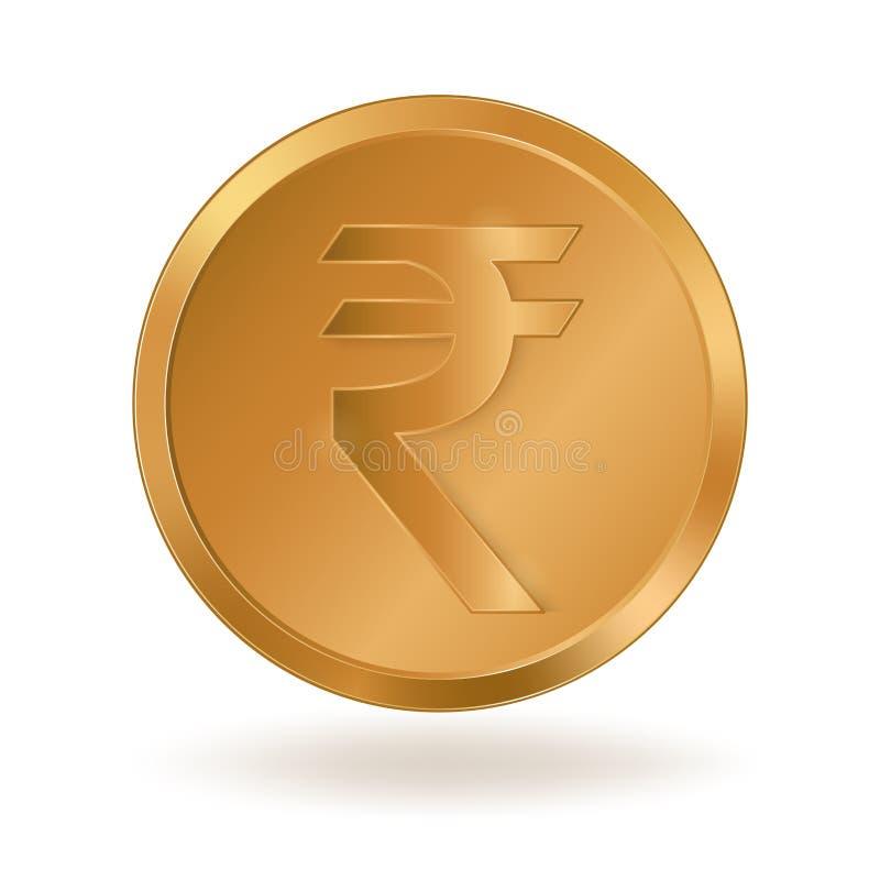 Moneda de oro con la rupia india de la muestra ilustración del vector