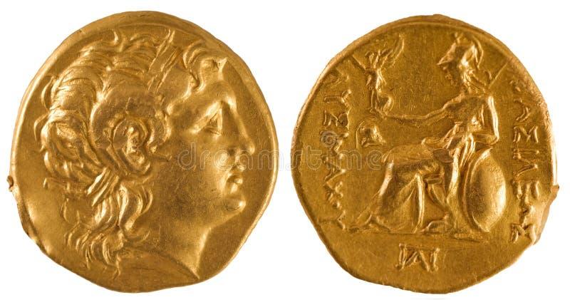 Moneda de oro de Grecia antigua. fotos de archivo