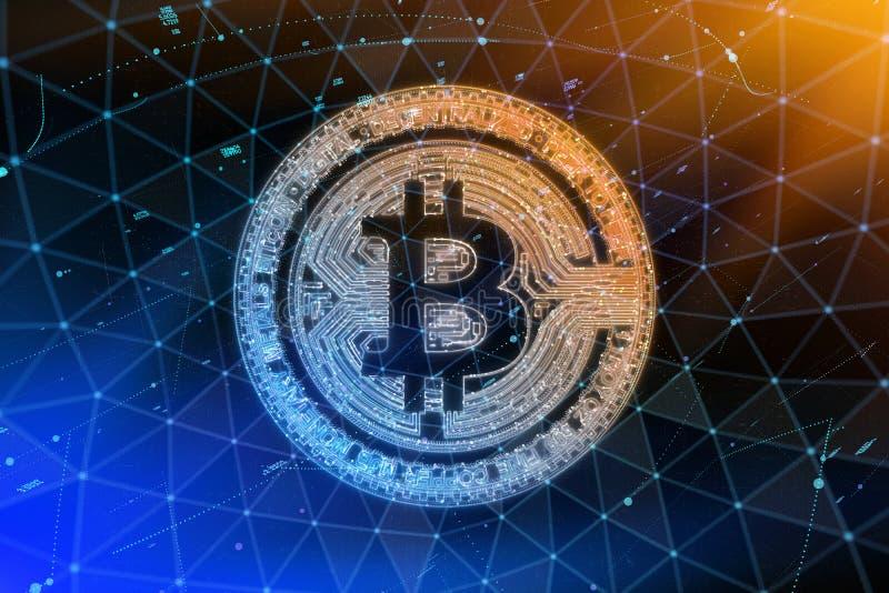 Moneda de oro del bitcoin en llama del fuego Concepto duro de la bifurcación del blockchain del oro de Bitcoin Símbolo de Cryptoc stock de ilustración
