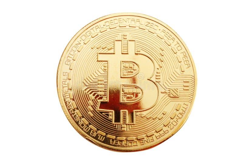 Moneda de oro del bitcoin en un fondo blanco fotos de archivo