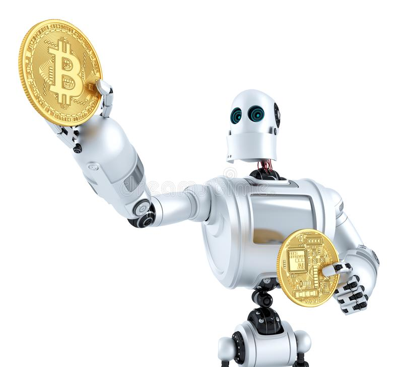 Moneda de oro del bitcoin que brilla en la mano de los robots ilustración 3D stock de ilustración