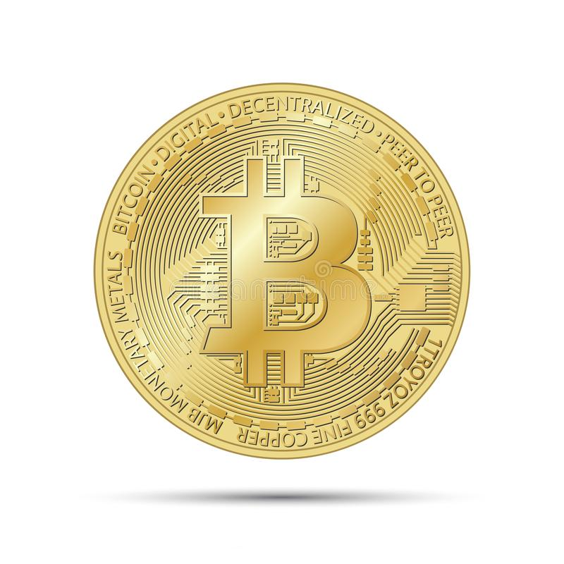 Moneda de oro del bitcoin, símbolo de oro de la moneda crypto stock de ilustración