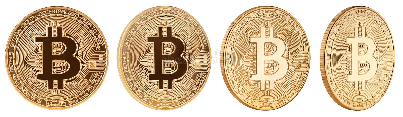 Moneda de oro del cryptocurrency del bitcoin aislada en el fondo blanco fotografía de archivo