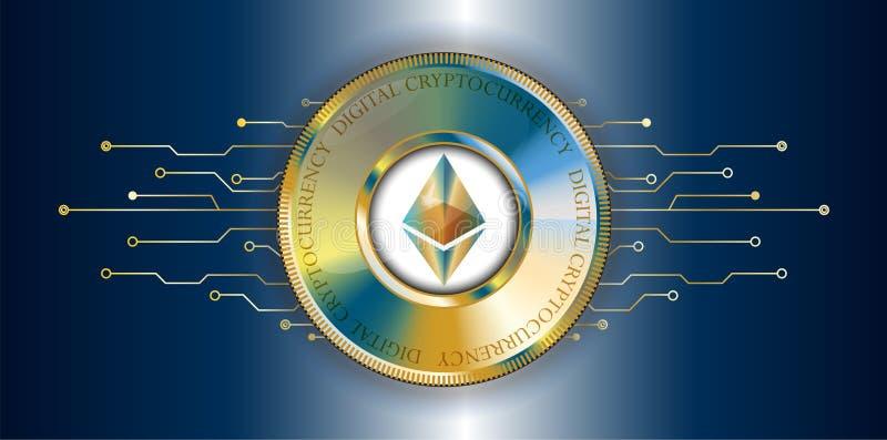 Moneda de oro del cryptocurrency del blockchain de Ethereum con l futurista libre illustration