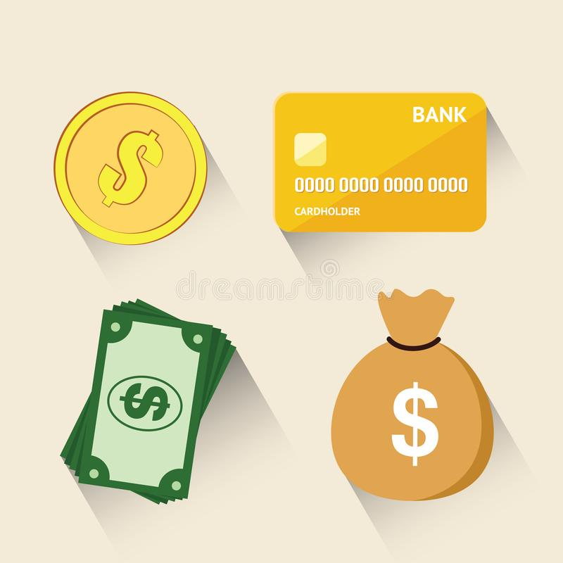 Moneda de oro del dólar, crédito de oro, bolso del dinero, billete de dólar aislado en el fondo blanco Ejemplo del vector de dife libre illustration