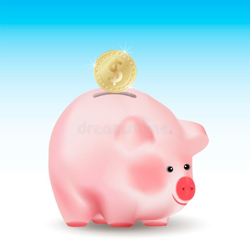 Moneda de oro del dólar que cae en el banco del cerdo del dinero Ejemplo realista conceptual del vector en fondo azul stock de ilustración