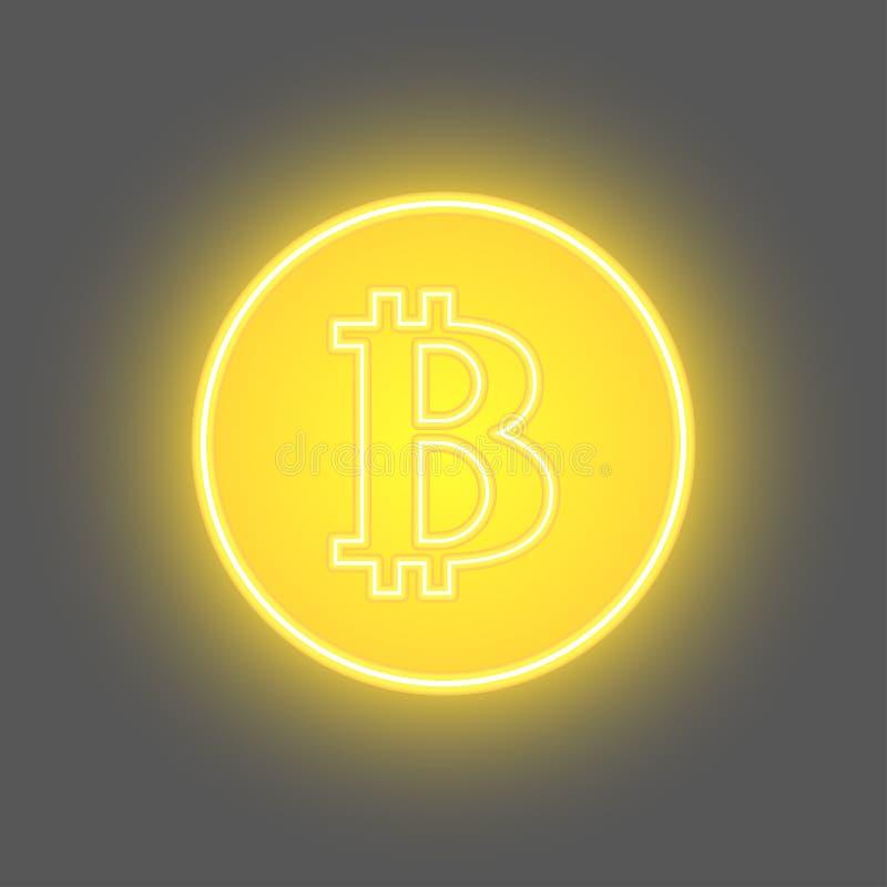Moneda de oro del pedazo de Bitcoin de la moneda del cryptocurrency digital f?sico de la moneda con s?mbolo del bitcoin ilustración del vector