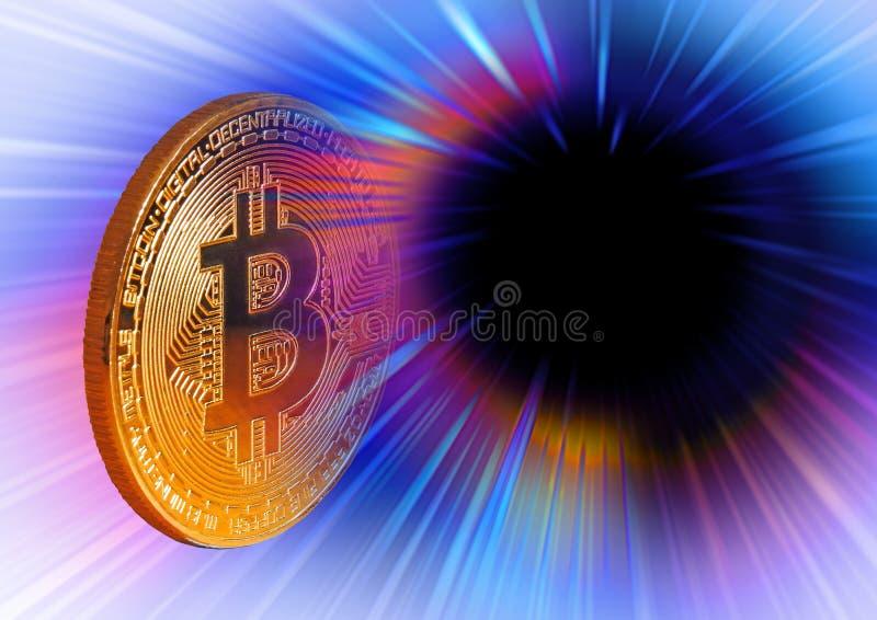 Moneda de oro digital del cryptocurrency de Bitcoin imagen de archivo libre de regalías