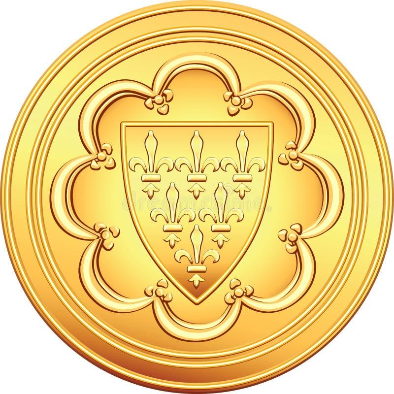 Moneda de oro francesa del ECU del dinero ilustración del vector