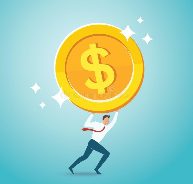 Moneda de oro grande de la tenencia del hombre de negocios Ejemplo del vector del concepto del negocio ilustración del vector