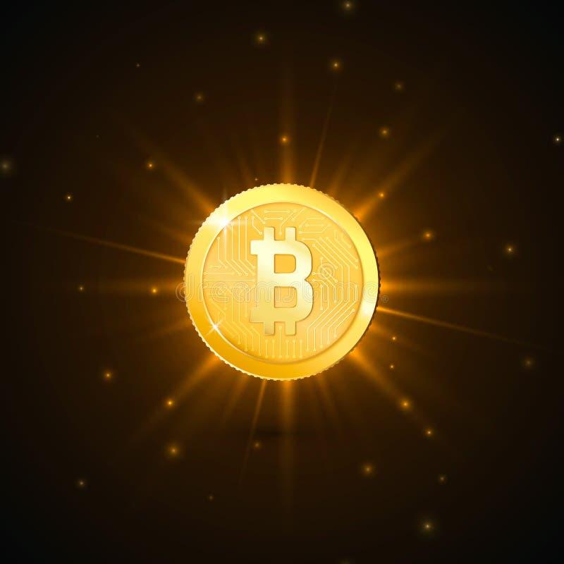 Moneda de oro de la moneda Crypto con símbolo del bitcoin Concepto digital del dinero de la tecnología futurista Ilustración del  ilustración del vector