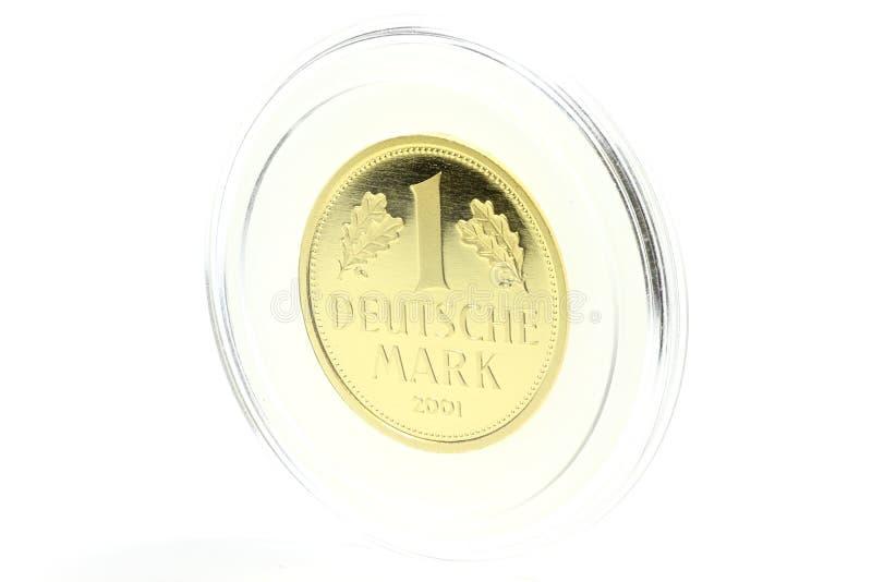 1 moneda de oro de la marca imagen de archivo